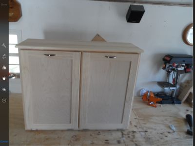 Double tip-out trash/recycle cabinet (also use for laundry, dog food storage, etc)