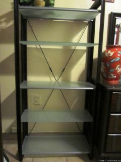BOOKCASE/ETAGERE (2) WOOD/TEMPERED GLASS