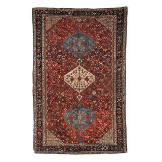 Handmade antique Persian Khamseh rug, 1B189