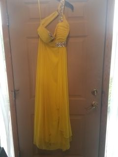 Full-Length Formal Dress with Decorative Gemstones in Fair Condition