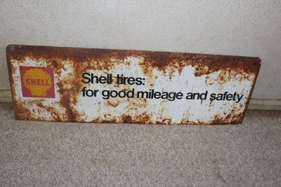 Vintage orginal metal Shell Brands Tire sign