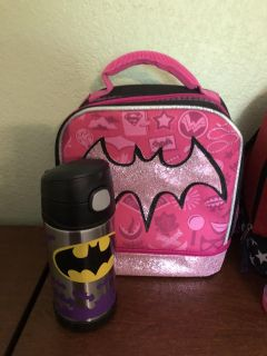 Batgirl lunchbox and water bottle