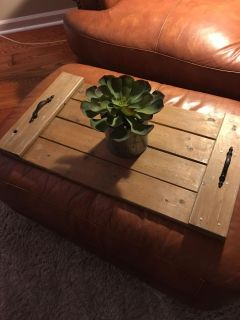 Adorable, large solid wood rustic tray. Plant not included. $5.