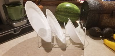 3 tiered cabinet organizer, white wire. 2 available. Dishes not included.
