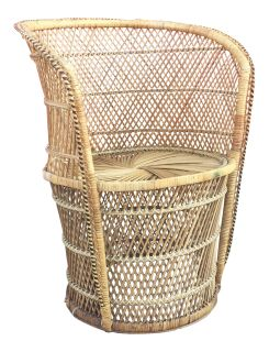 Vintage Wicker Low Profile Throne Chair