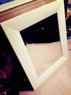 white framed mirror,