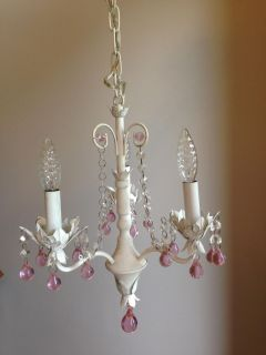 stunning white and pink crystal chandelier
