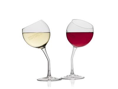 Tipsy Wine Glasses Set of 2 Tilted Wine Glasses