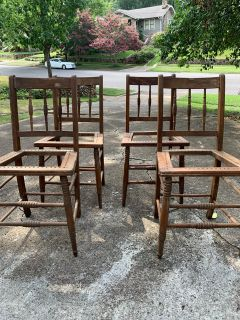 Set of 4 antique card table chairs