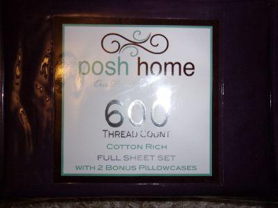 New Posh Home Dark Purple Full BED SHEET SET 6 Piece Cotton Sheets