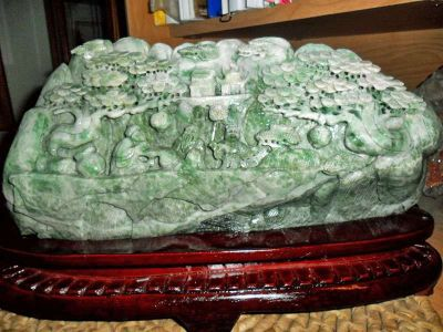 Beautiful and Exceptional Large Jadeite DuShan Jade Exceptionally Hand Carved Mo