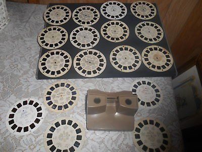 Vintage SAWYER Brown View Master + 17 Assorted Film Reels. Nice condition