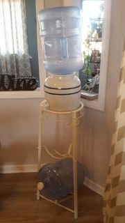 Ceramic Water Dispenser + steel stand + 2 5 gal jugs