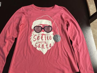 Arizona jeans longsleeve shirt girls large size 14 selfie with Santa new without tags