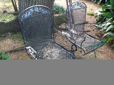 Two Vintage Metal Rocking Chairs