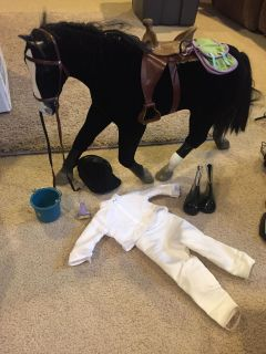 American Girl Black horse and riding outfit