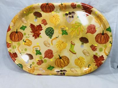 """Fall Leaves Pumpkin Thanksgiving Plastic Serving Party Tray Platter 19"""""""