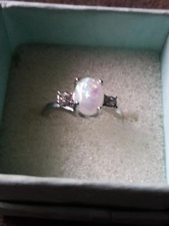New Sterling Silver Opal Sz 7 Ring