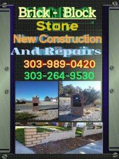Brick , Block . and Stone , new construction and repairs