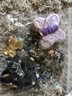 Bag of earrings and necklaces
