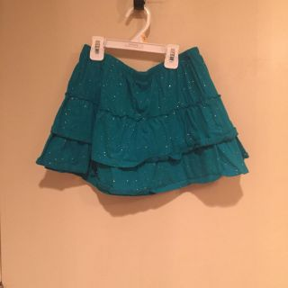 NWOT Turquoise cotton ruffle skirts/sparkles