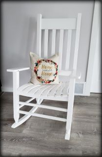 Indoor/Outdoor Classic White Wooden Rocking Chair - Like New!