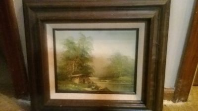 Cabin by the river oil painting