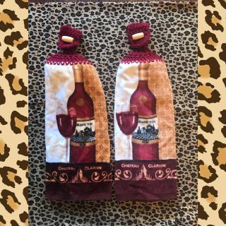 Crochet Hanging Kitchen Towels * Wine * Grapes *