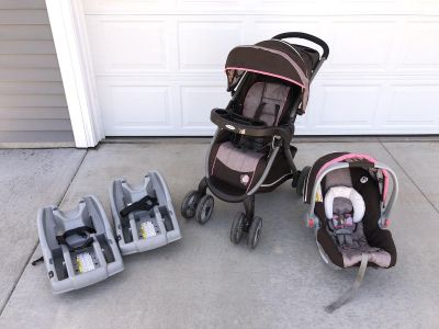 Graco Click Connect Stroller Carseat Two Bases Pink and Brown