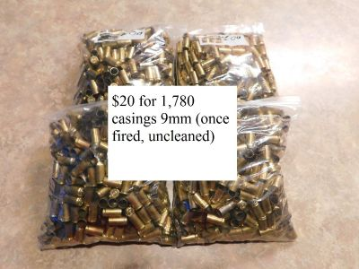 9mm casings (once fired, uncleaned) 1,780 casings