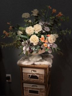 Custom made, large & full floral arrangement in distressed white metal vase. Brazoria home pickup.