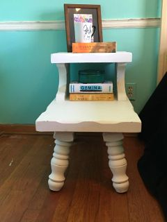 Lightly distress end table solid wood!