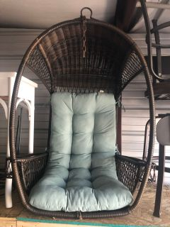 Brown wicker swingsan chair $155