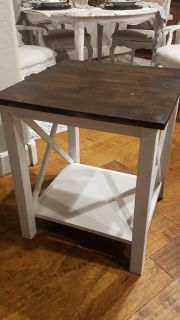 Farmhouse End Table, solid wood from Wayfair