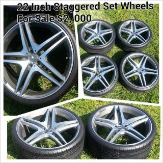22 Staggered Rims and Tires Set or OBO