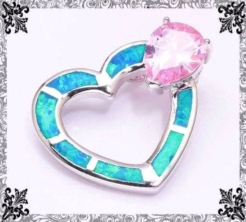 New - Blue Fire Opal Heart & Pink Topaz Pendant (Includes a chain)