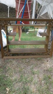Antique mirror with shelves