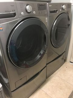 LG Washer and Dryer with 2 Pedestal drawers