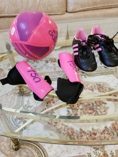 Girl's Youth Soccer Girl's Pink Cleats Toddler Size 12, Shin Guards Toddler Medium and Soccer Ba...