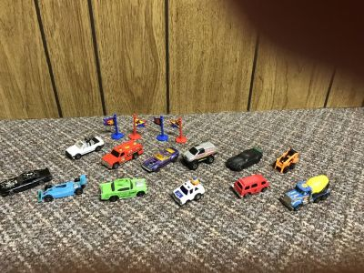 12 matchbox cars 4 signs. All for $3.00