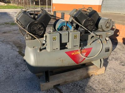 Johnson Controls Air Compressor Pureflow Duplex Twin Motor High Recovery