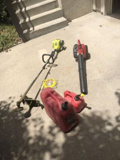 Weed eater leaf blower along with 2 gas cans and string. All on good working condition. Used less then a year. All for $100