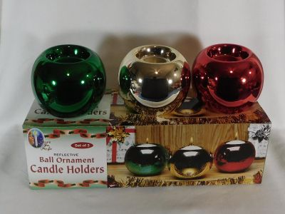 Set of 3 Ball Ornament Candle Holders ~ Green, Gold & Red
