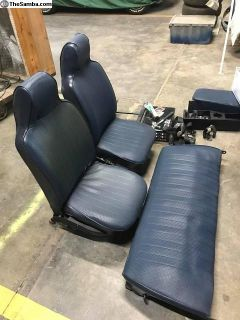 Blue High Back OEM Seats and Rear Bench 1973+