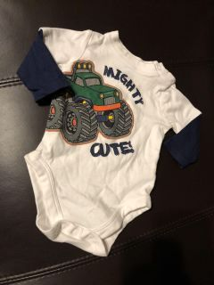 Mighty Cute Truck Long Sleeve Shirt Onesie. Nice Condition. Size 0-3 Months
