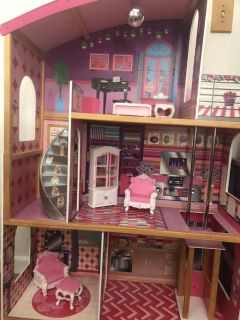 Huge Barbie house with working elevator and box of Barbie stuff