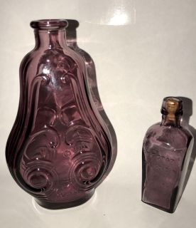 Antique Wheaton Purple Glass Bottle and Nectar of Life Bottle