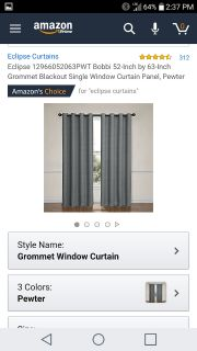 Blackout grey curtains