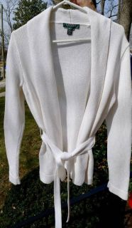 RALPH LAUREN~CREAM CARDIGAN SWEATER w/ TIE BELT (PM)