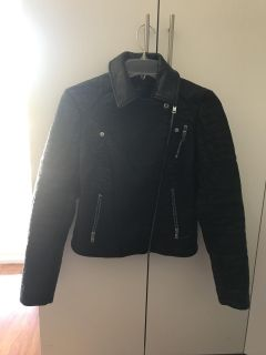 Women American Eagle Outfitters Black Leather Jacket